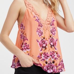 Free People Peach Morning Floral Rose Camisole